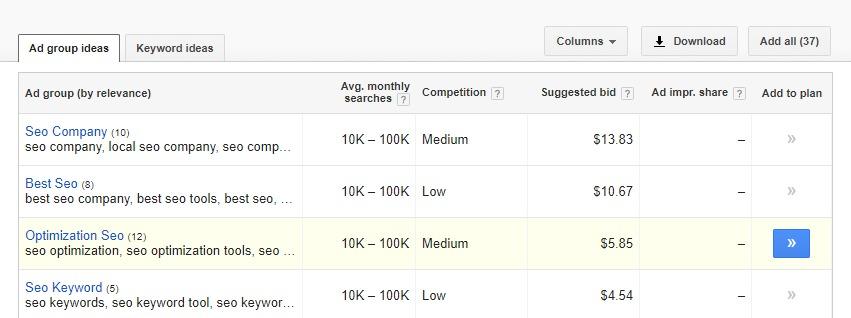 keyword planner topic generate