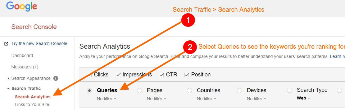 keyword tracking with search console