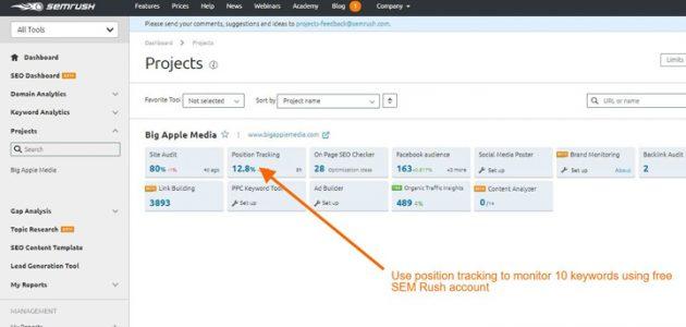 keyword tracking with sem rush