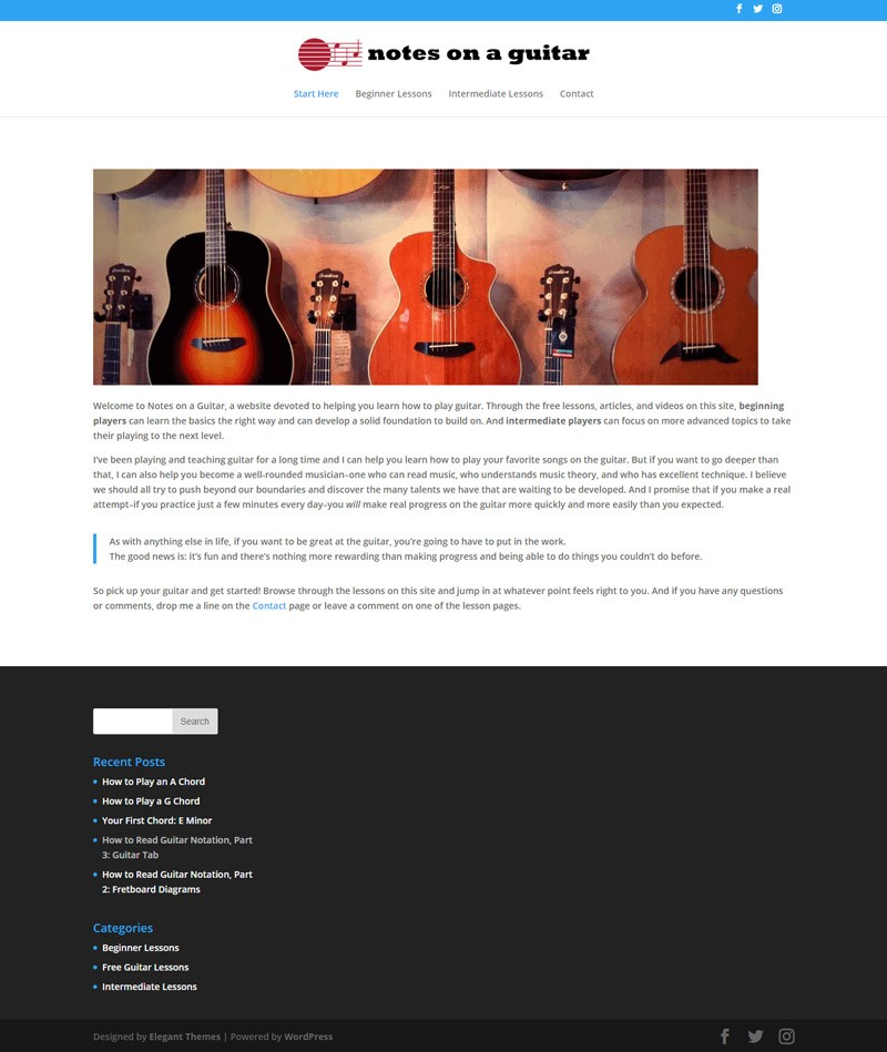 old music website redesign