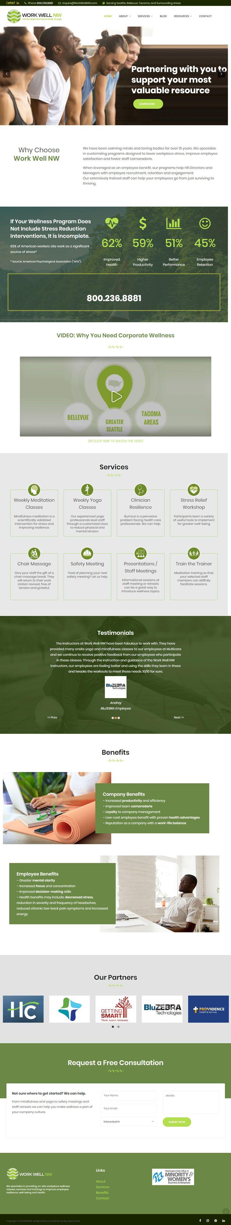 corporate wellness website redesign
