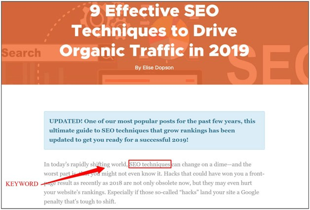place seo keywords at the beginning