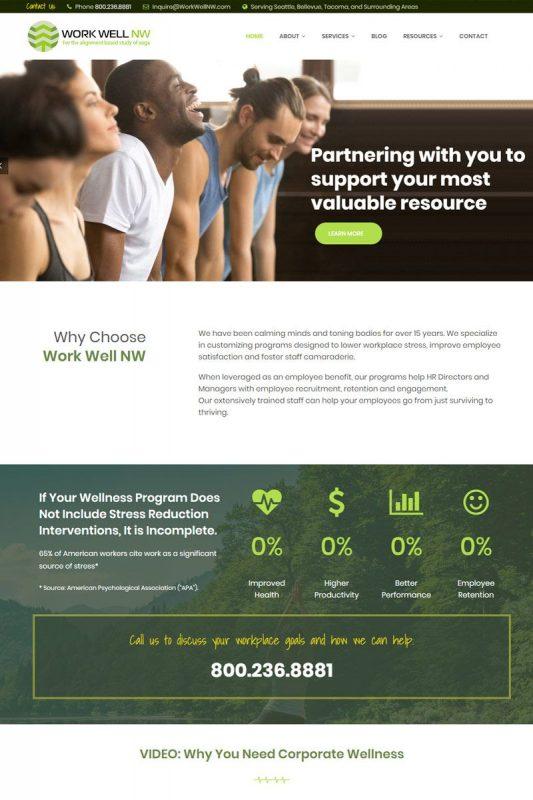 health and wellness web design