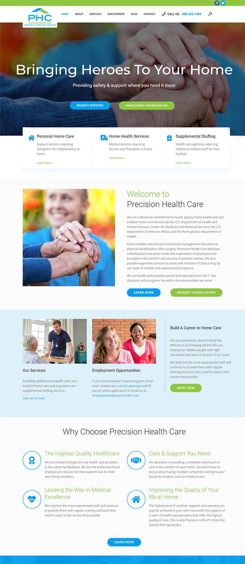 health website redesign after