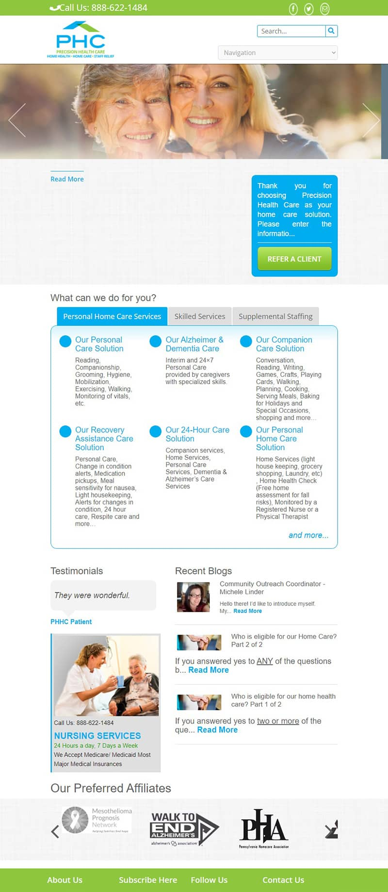 health website redesign before
