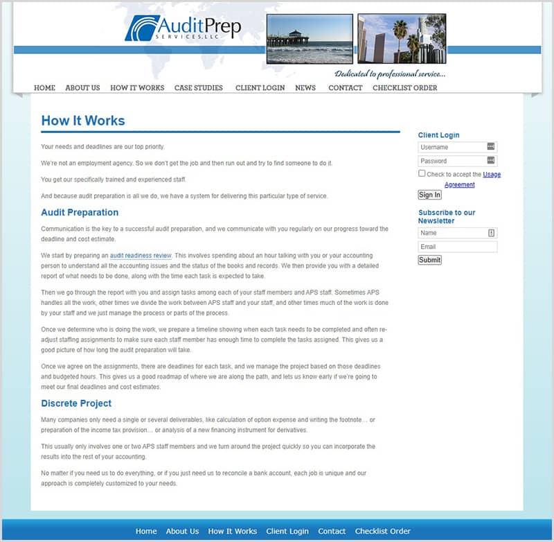 audit prep old website redesign