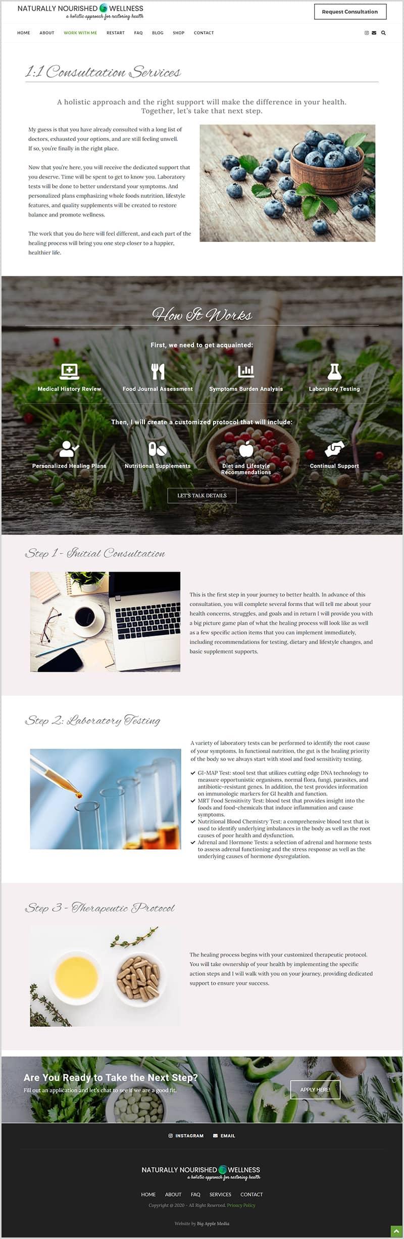 wellness business website design