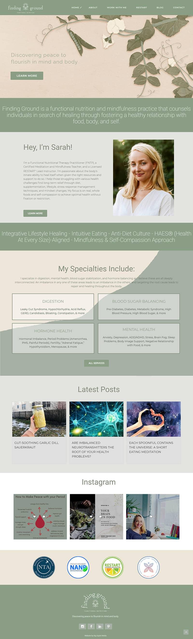 holistic health website design